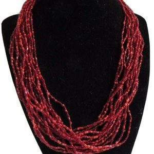 Vintage Multi Strand Red Seed Bead Necklace